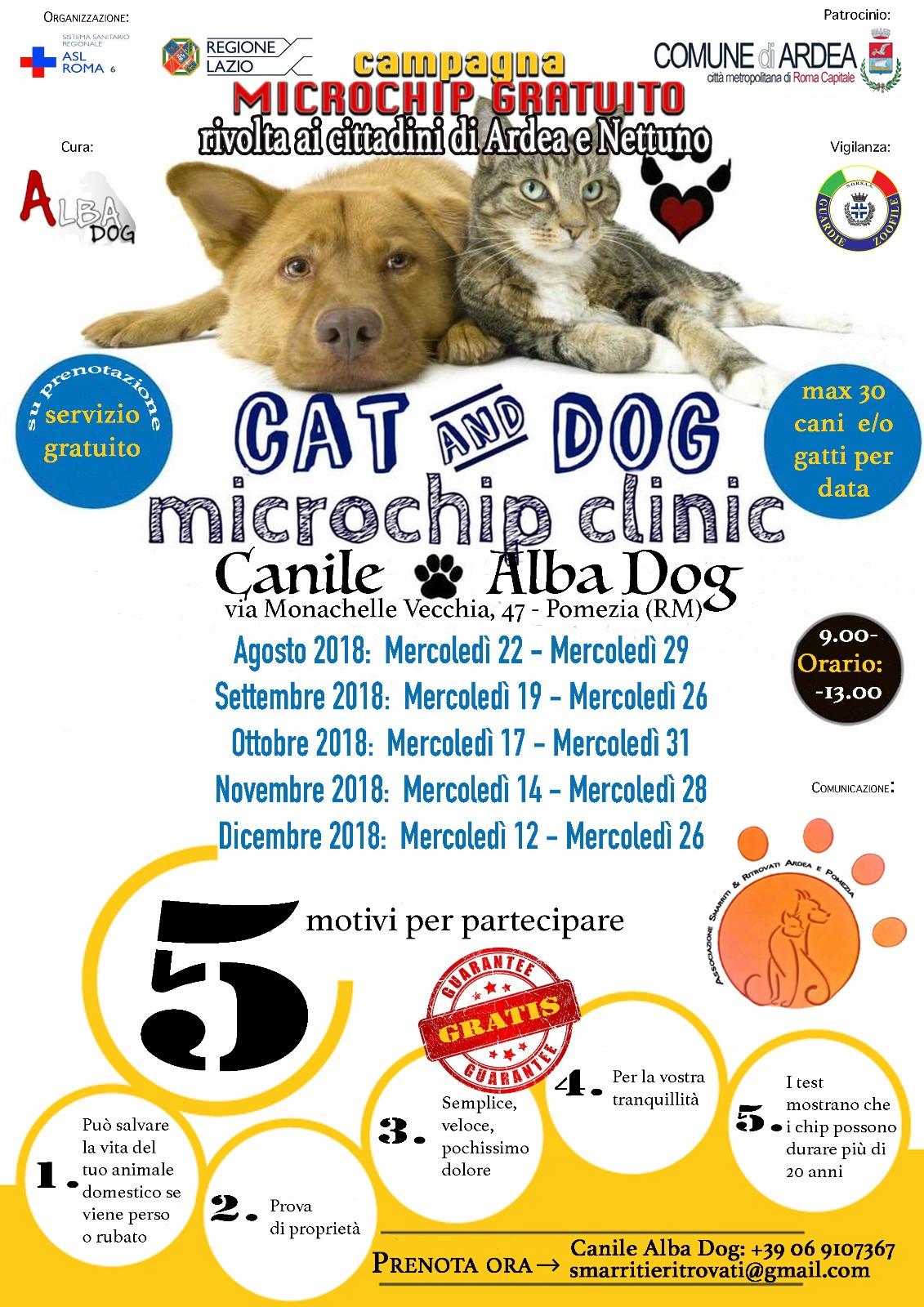 Animali, campagna microchip gratuito