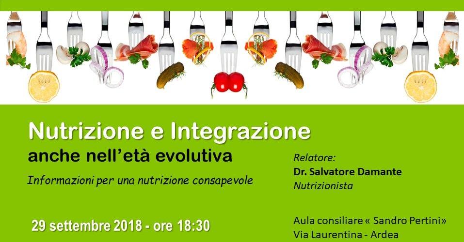 Convegno: Nutrizione ed Integrazione nell'età evolutiva – Aula consiliare Sandro Pertini, 29 settembre 2018 ore 18.30