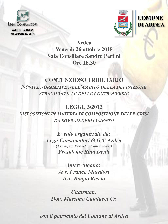 Contenzioso Tributario: novità normative  – Venerdì 26 ottobre ore 18.30 Aula Consiliare S. Pertini