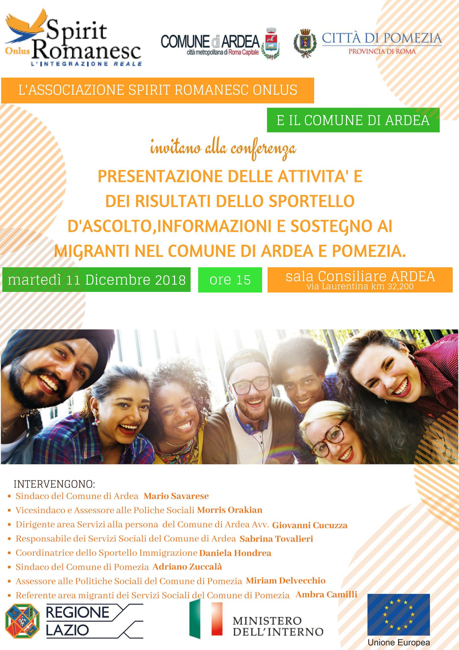 Presentazione delle attività sportello sostegno migranti – martedì 11 dicembre 2018 ore 15.00