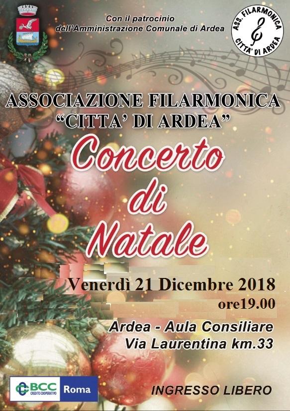 Concerto di Natale – Associazione Filarmonica città di Ardea – venerdì 21 dicembre ore 19.00