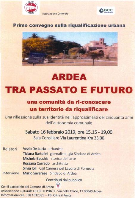 Convegno: Ardea, tra passato e futuro – sabato 16 febbraio ore 15.15 aula consiliare