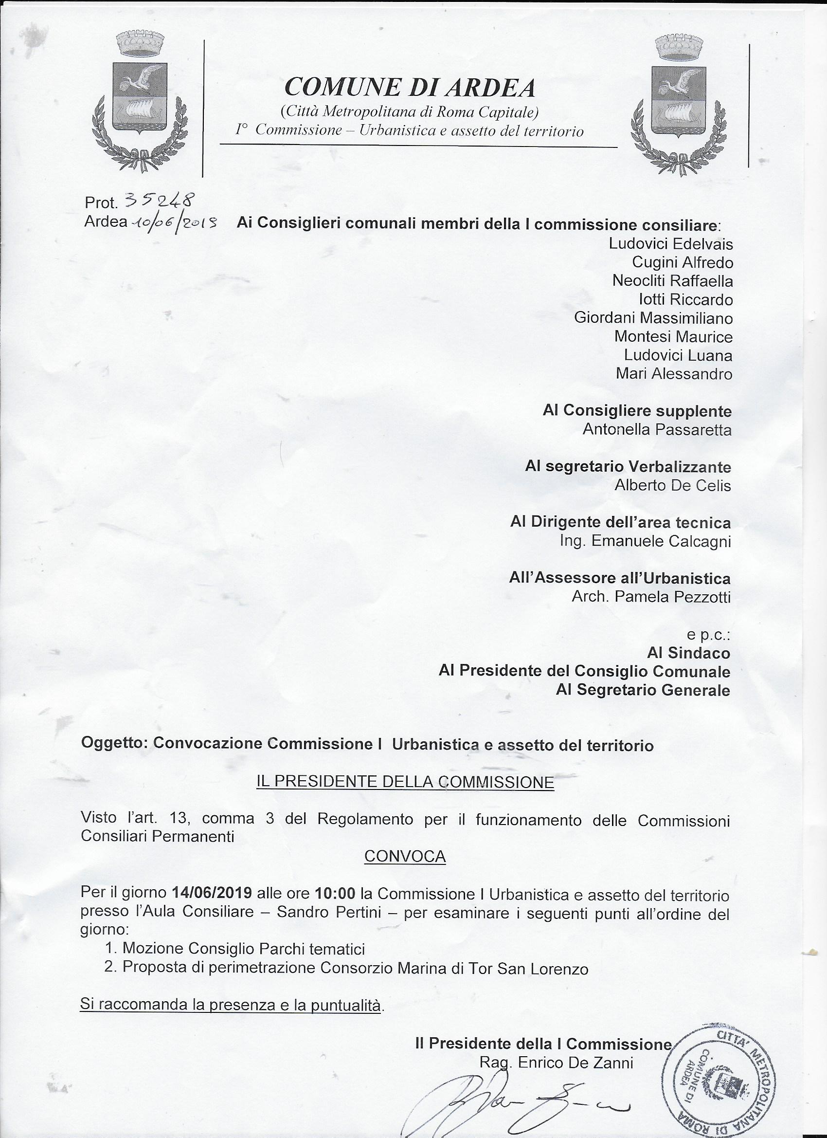 Commissione urbanistica convocata per il 14/06/2019