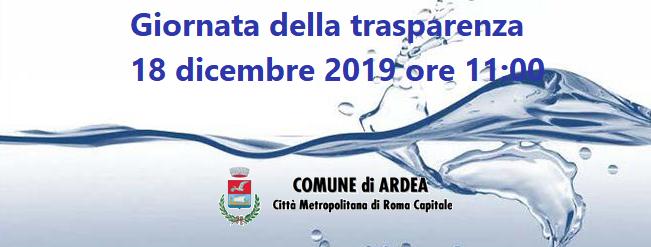 Giornata della trasparenza – giorno 18 dicembre 2019 ore 11:00