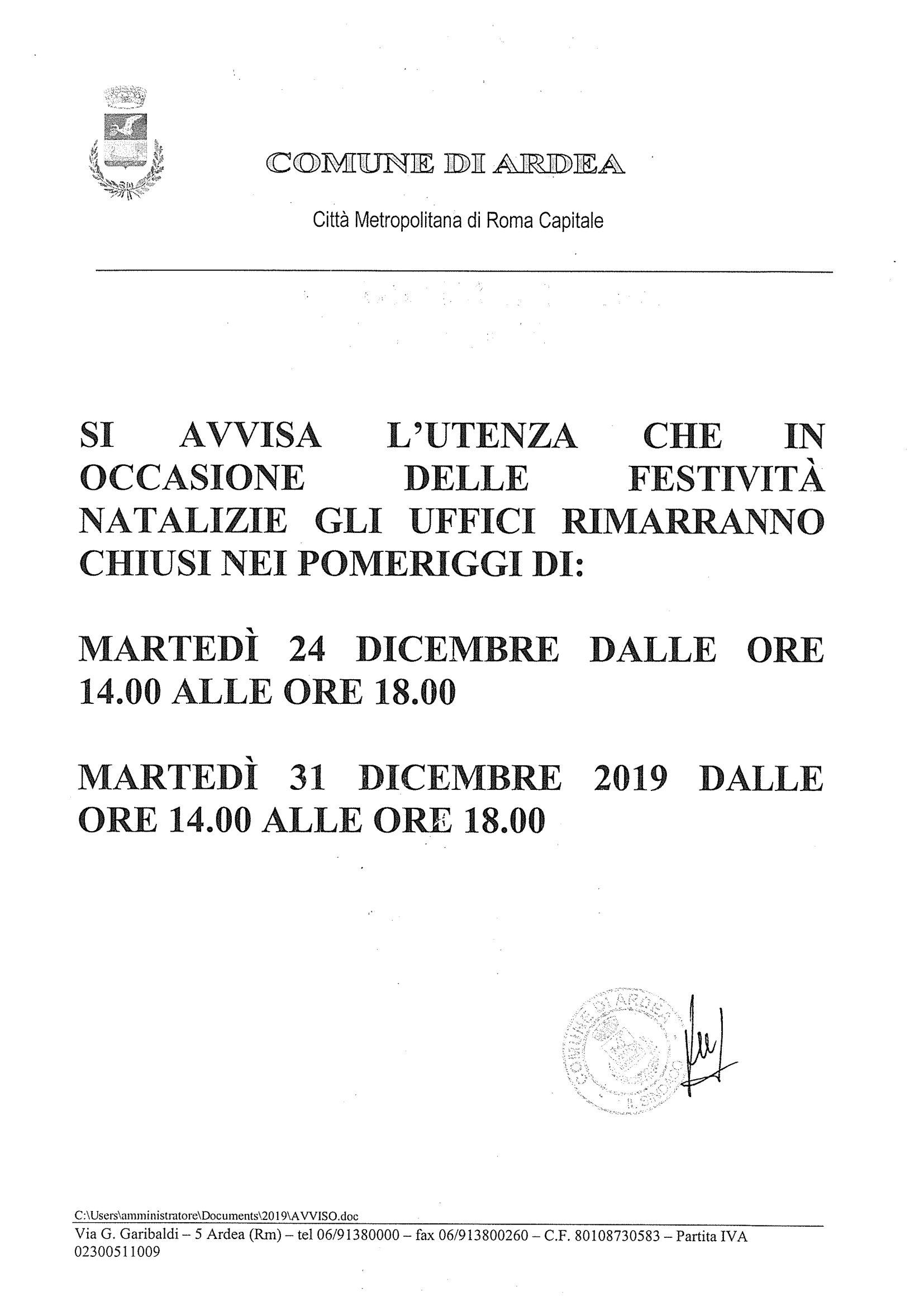 Chiusura natalizia uffici comunali