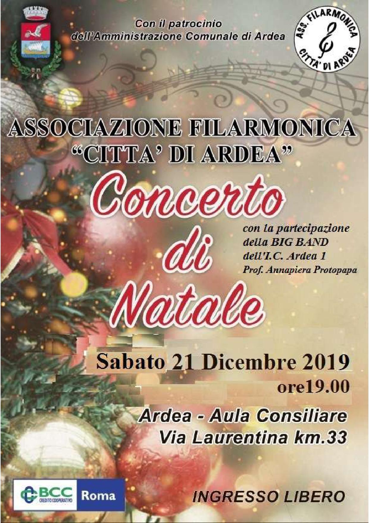 ARDEA FILARMONICA: Concerto di Natale – 21 dicembre 2019
