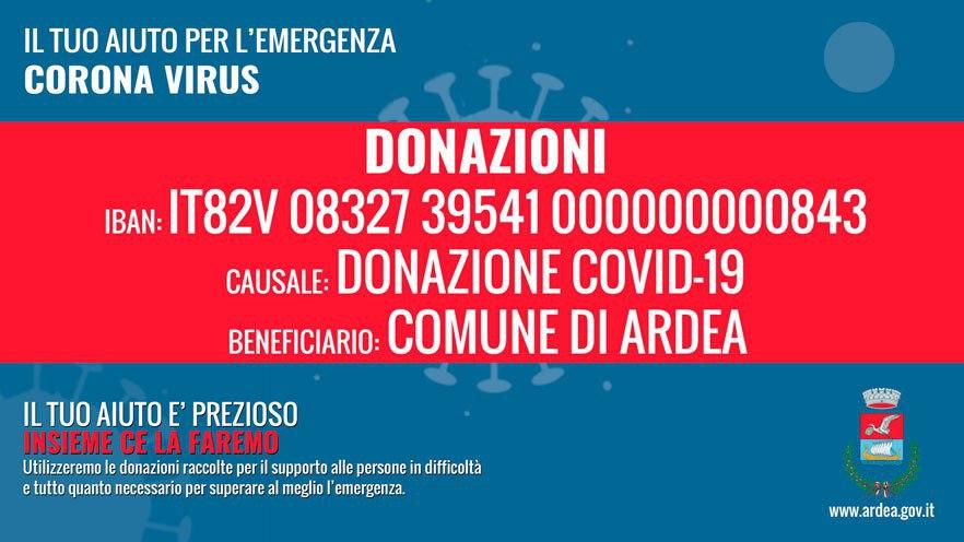 Donazioni per l'Emergenza Corona Virus: IBAN
