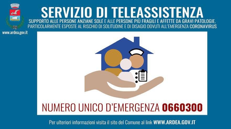 Emergenza Coronavirus.  Servizio di teleassistenza per persone anziane e  fragili. NUMERO UNICO D'EMERGENZA 06.60300 (TASTO 7)