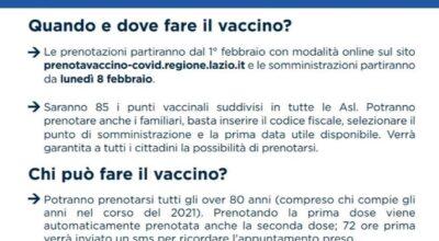 DAL 1° FEBBRAIO 2021 E' POSSIBILE PRENOTARE LA VACCINAZIONE PER LA POPOLAZIONE OVER 80