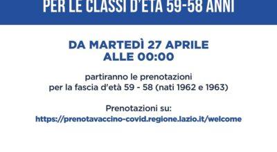 VACCINO ANTI-COVID19: CITTADINI 58-59 ANNI