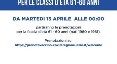 VACCINAZIONE ANTI COVID-19 FASCIA ETA' 61-60 ANNI