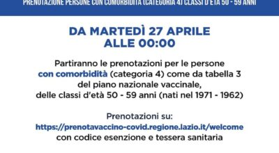 VACCINAZIONE ANTI-COVID19 PER CITTADINI TRA I 50 E I 59 ANNI CON COMORBIDITA' (TABELLA 3 PIANO NAZIONALE)