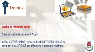 """ATTIVAZIONE PIATTAFORMA DOMUS """"CAMBI DI RESIDENZA ONLINE"""""""